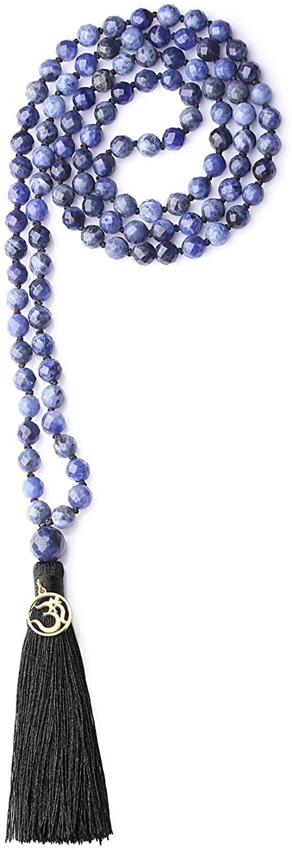 COAI OM Charm Hand Knotted Tassel 108 Mala Beads Necklace
