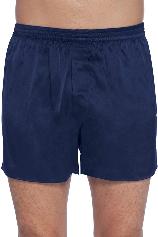 Intimo Men's Classic Silk Boxers, Dark Navy, X-Large