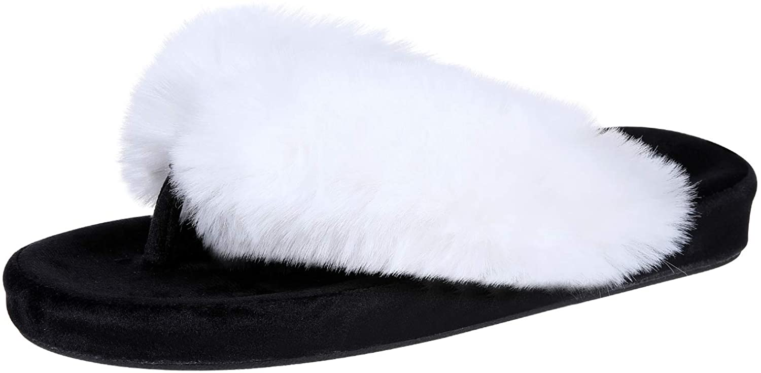 Fuzzy Flip Flop Slippers for Women Memory Foam Arch Support Thong Slippers