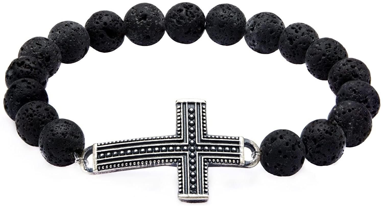 GranTodo Men's Black Lava Beads & Steel Cross Bracelet
