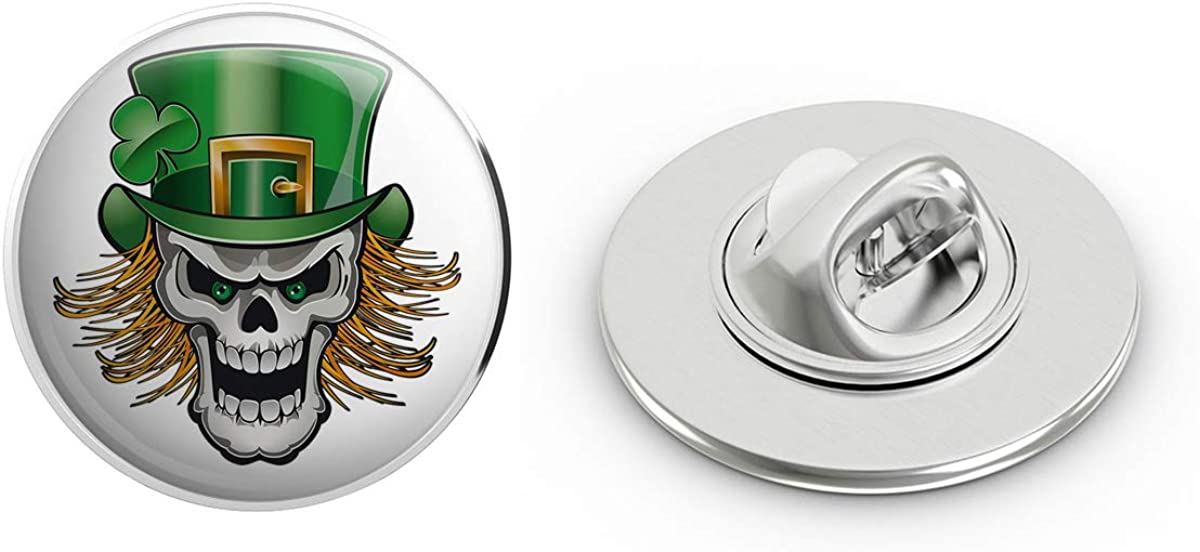 BRK Studio Creepy St. Patrick's Day Leprechaun Skull Cartoon Icon Round Metal 0.75