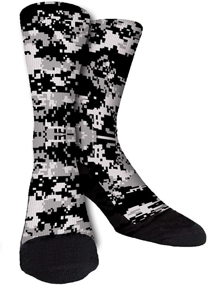Black Grey White Digi Camo Unisex Casual Crew Socks