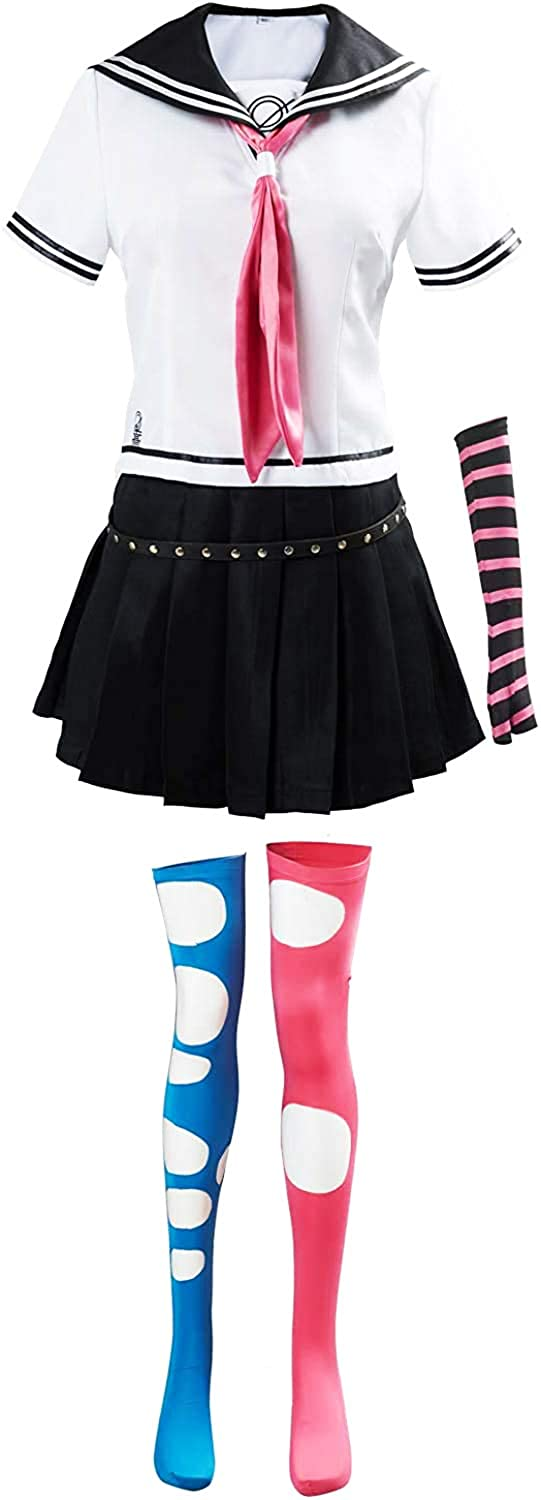 Womens Mioda Ibuki Cosplay Danganronpa Cosplay Costume Anime Sailor Dress High School Uniform Outfit Full Set