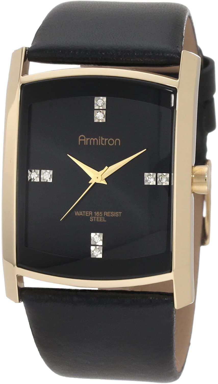 Armitron Men's Swarovski Crystal Accented Leather Strap Watch
