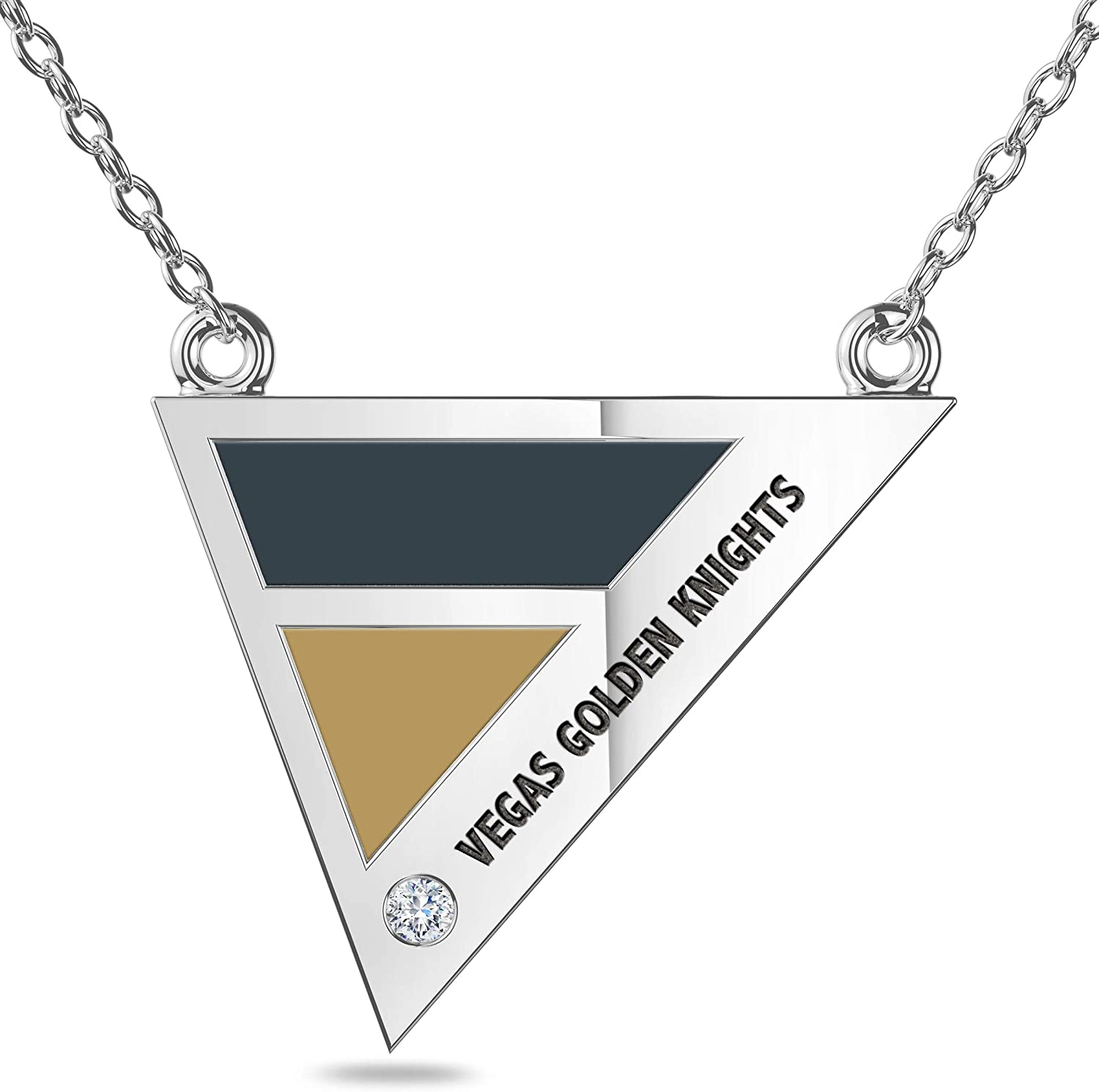 Vegas Golden Knights Engraved Sterling Silver Diamond Triple Station Necklace in Black & Brown