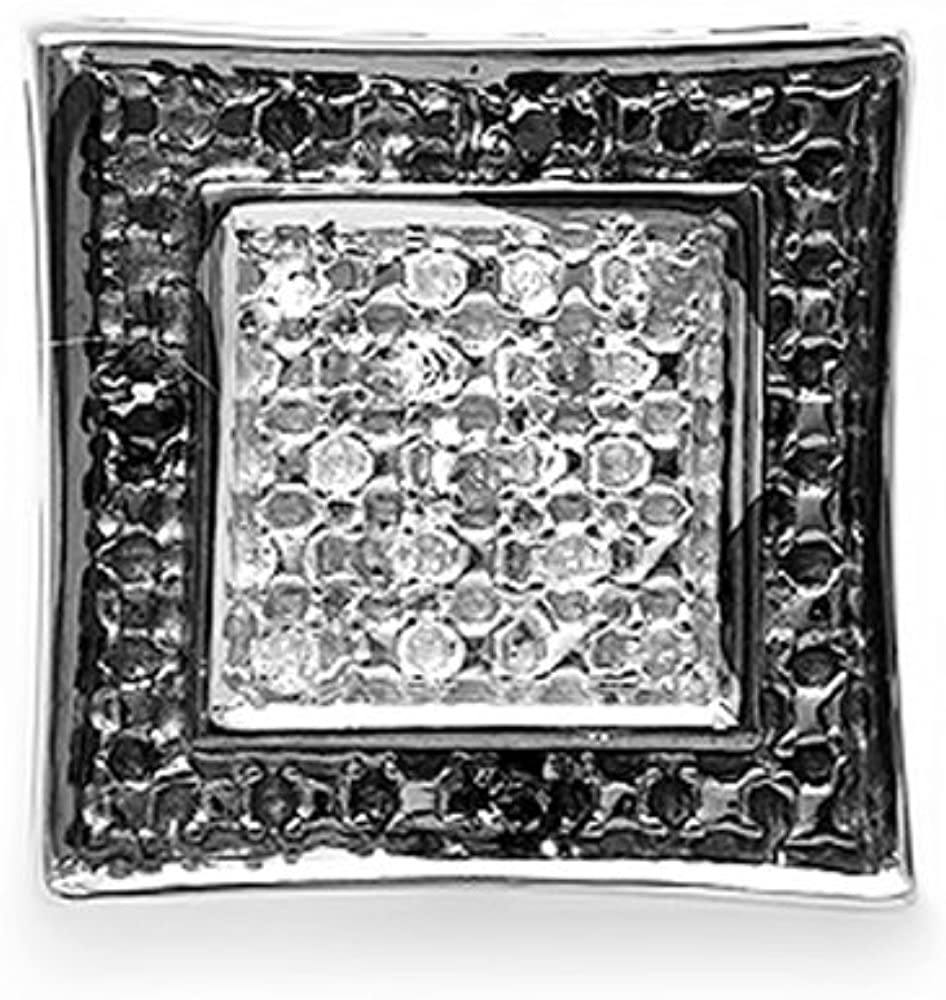 Dazzlingrock Collection 0.05 Carat (ctw) Round Black & White Diamond Micro Pave Setting Kite Shape Stud Earring (Only 1pc)