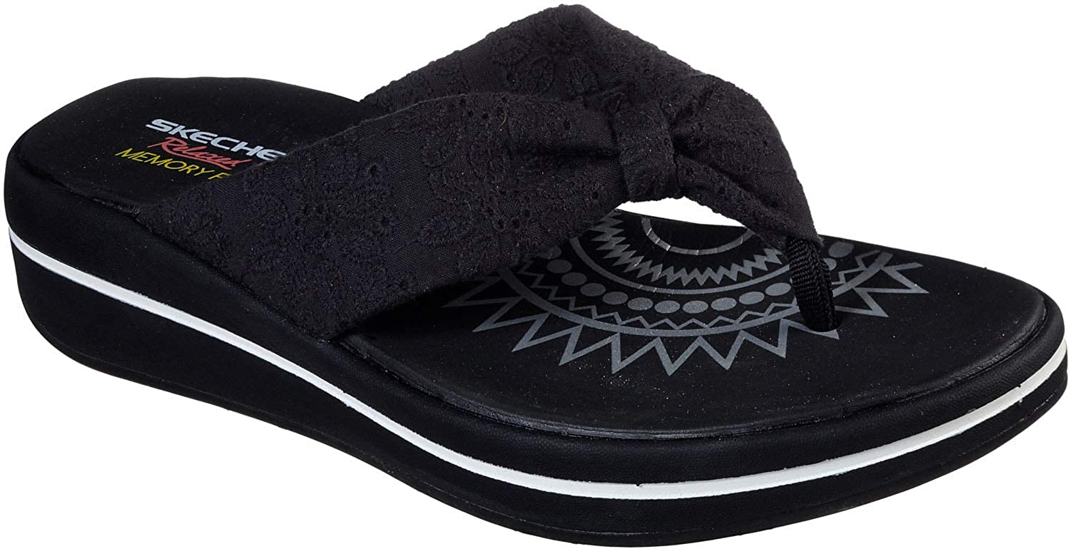 Skechers Women's Relaxed Fit Upgrades - Island Vibes, Thong Sandal, Black, 9