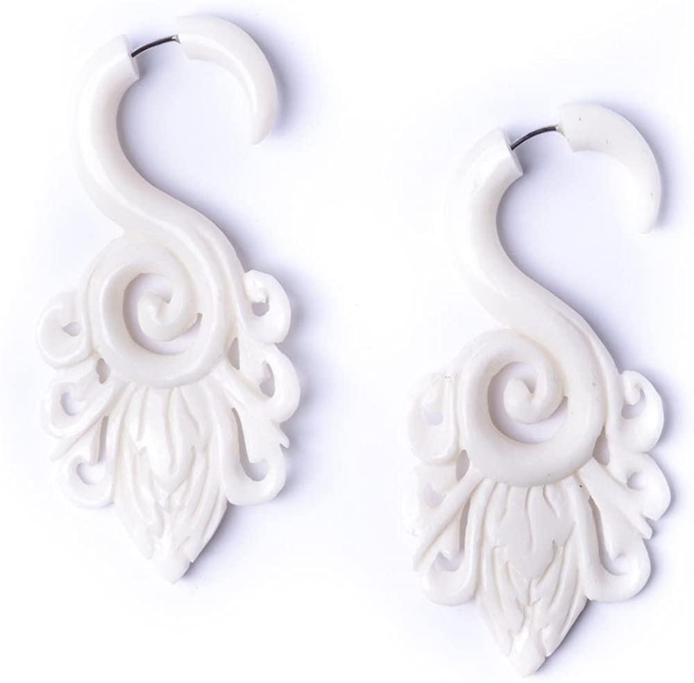 81stgeneration Women's Men's White Bone Fake Taper Stretcher Plug Flower Spiral Tribal Earrings