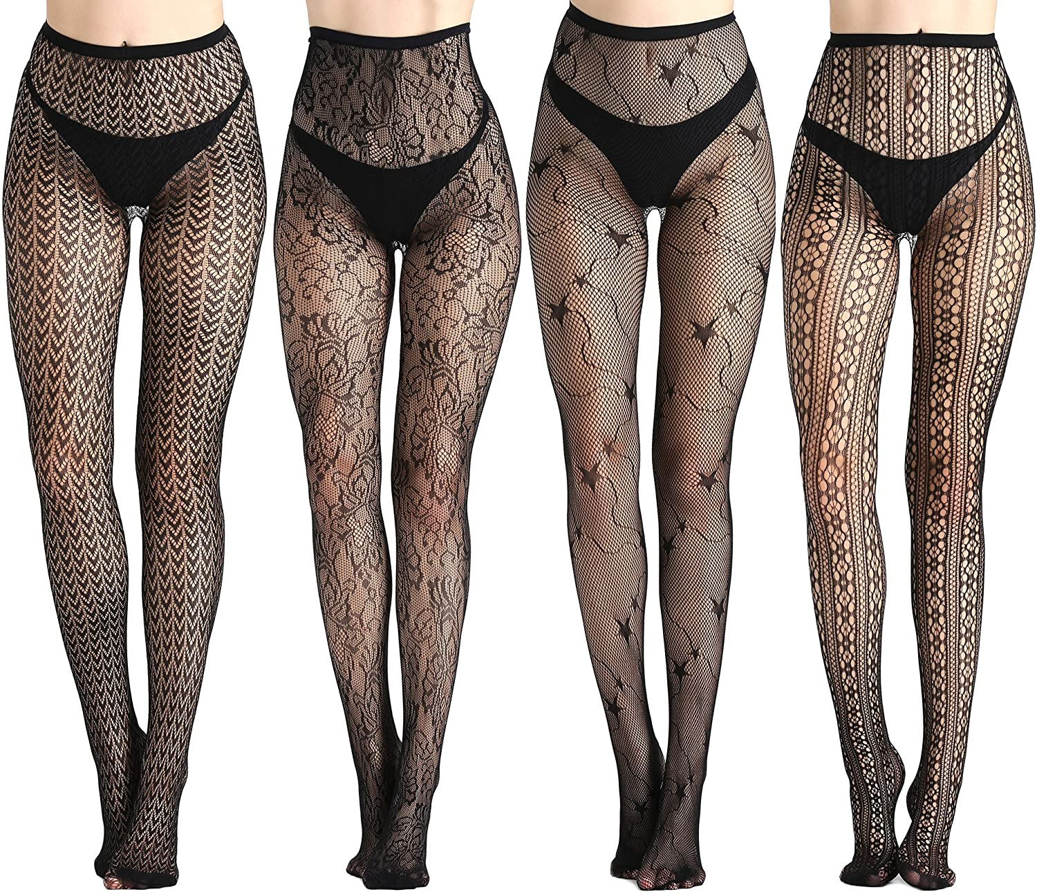 Joyaria Women Sexy Tights Fishnet Thigh-High Garter Stockings Pantyhose Black Pattern 4 Pack