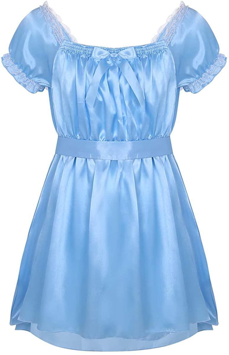 dPois Mens Soft Satin Short Sleeve Girly Maid Sissy Crossdress Lingerie Dress Nightwear Pajamas