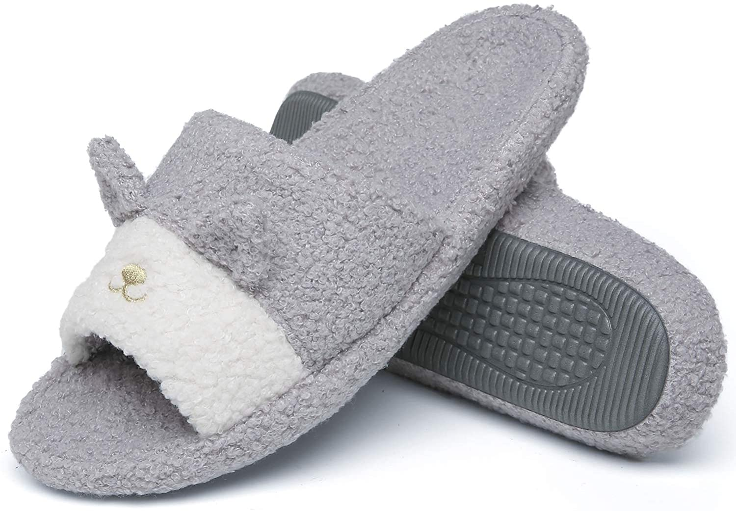 ChayChax Womens Fuzzy Open Toe House Slippers Memory Foam Slip On Soft Plush Slides Cute Indoor/Outdoor Slipper with Comfort Heel Cup
