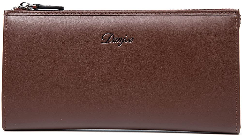 DANJUE Leather Men's Long Handbags Clutch Zip Card Case Cash Holder Wallet