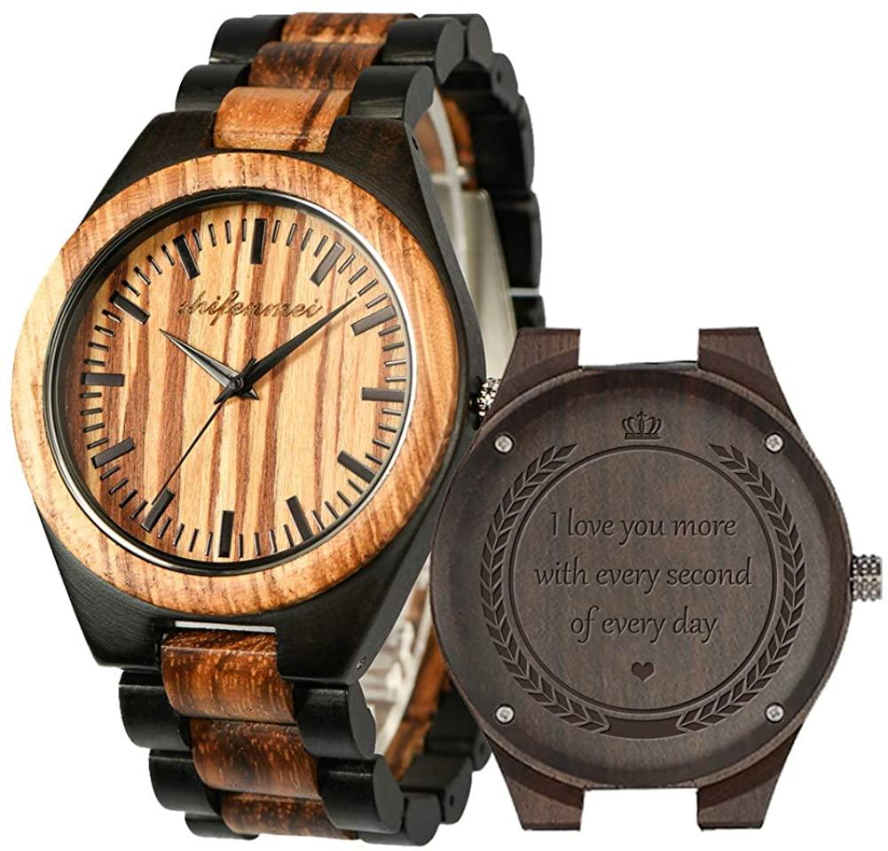 Engraved Wooden Watches, shifenmei S5533 Personalized Wood Watch for Anniversary Birthday Graduation Wedding Design for Husband Boyfriend Love Dad Mom Son Friend Groomsman