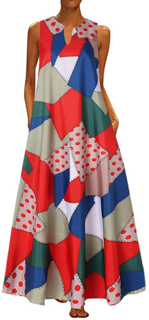 Hotkey Plus Size Dress for Women Vintage V Neck Sundress Summer Casual Sleeveless Bohemian Long Maxi Dress S-5XL