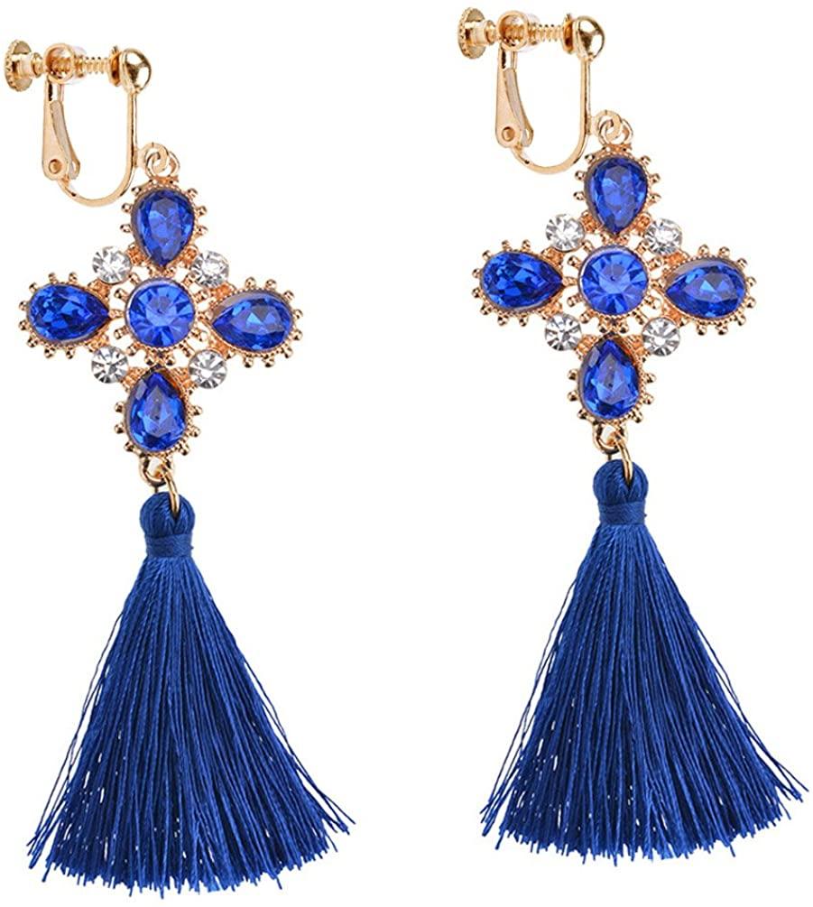 Dangle Earring Clip on Screw Backs Cross Crystal Long Tassel Thread for Bride Women Wedding Navy