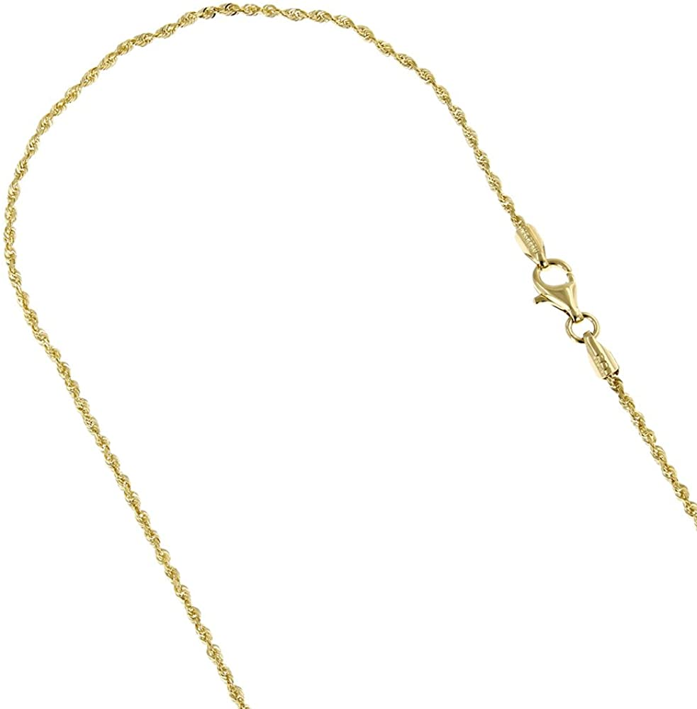 LUXURMAN Solid 10K White, Yellow Gold 1.5mm Wide Rope Chain Diamond Cut Necklace or Bracelet Lobster Claw