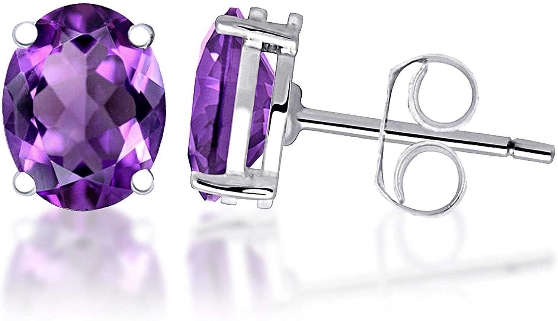 Purple Earrings By Orchid Jewelry | Stud Earrings For Women Featuring | Birthstone Stud Earrings (8x6 MM, 2.22 Cttw)| Simple. Beautiful. Affordable