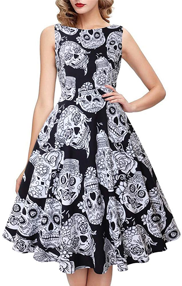 Funcok Womens Skull Printed Halloween Sexy Midi Dresses Sleeveless Costume Cosplay Party