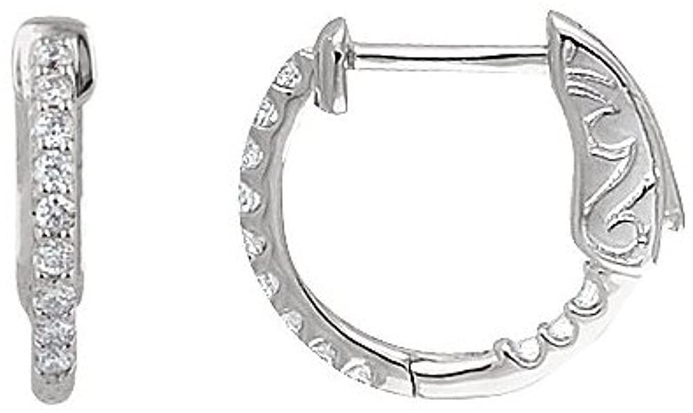Black Bow Jewelry 14k White Gold 14mm Inside Outside Diamond Hinged Round Hoop Earrings