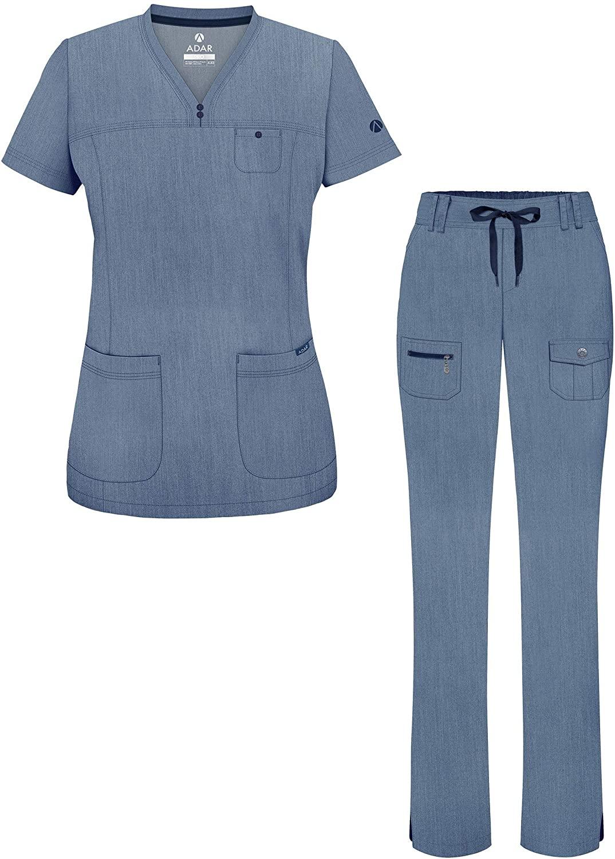 Adar Pro Heather Everyday Expert Scrub Set for Women - Curved V-Neck Scrub Top & Tapered Drawstring Scrub Pants