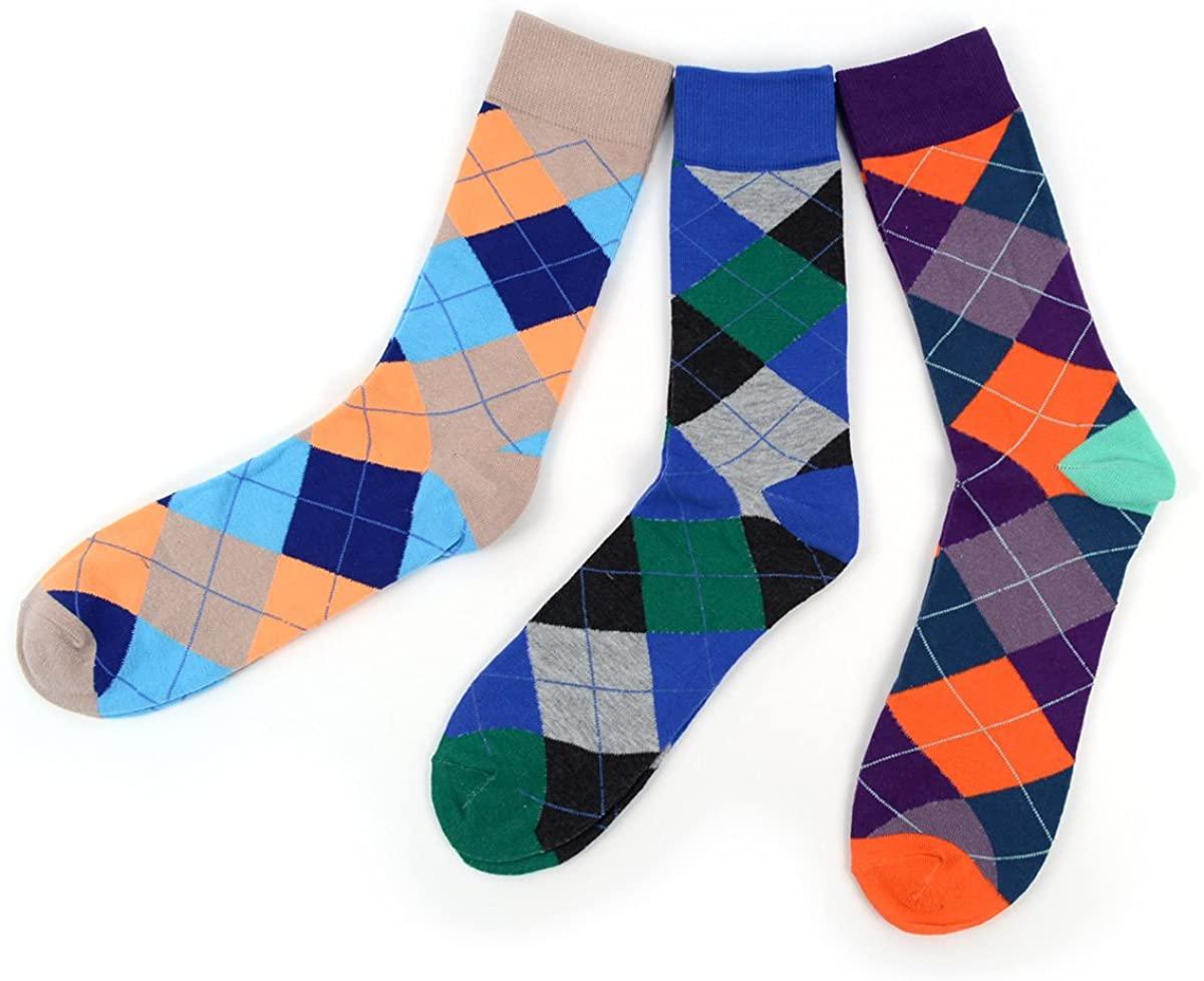 Men's Dress Socks - Patterned Socks - Fun Crew Socks + Argyle, Colorful, Funky Socks.