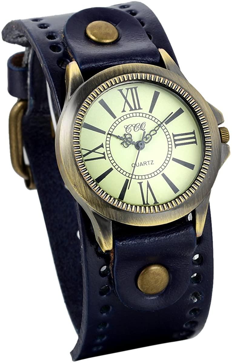 JewelryWe Vintage Wrist Watch Wide Leather Strap Band Cuff Quartz Watches for Men for Halloween