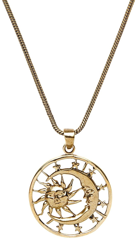 81stgeneration Women's Brass Gold Tone Crescent Moon Sun Stars Galaxy Round Pendant Necklace, 18