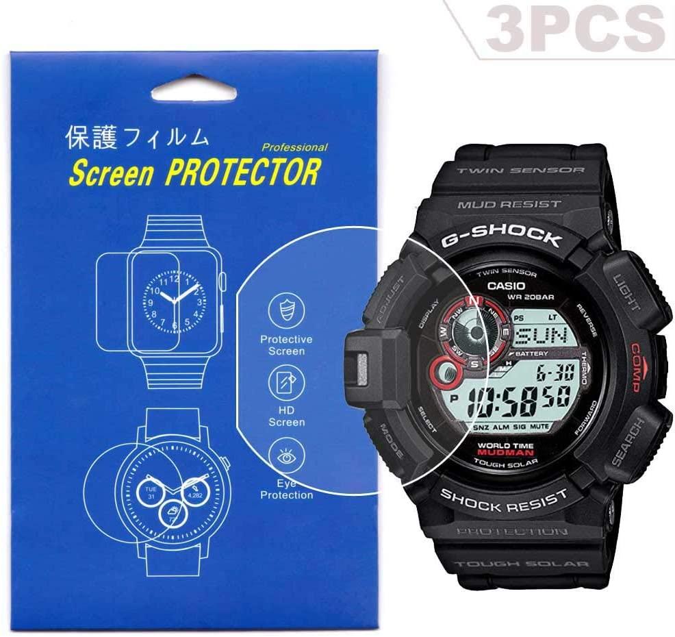 [3-Pcs] Screen Protector for Casio GW-9300 G-9300 Clear HD Film with Anti-Fingerprint, Anti-Bubble,Anti-Scratch