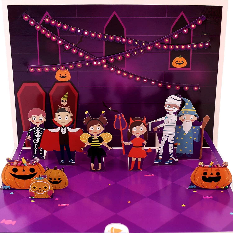 Oritouchpop Halloween Kids Costume Pop Up Card - 3D Greeting Cards, For Halloween, Trick or Treat, Pumpkin, Wizard, Mummy, Demon, Vampire, Skeleton, Halloween Card for Kids