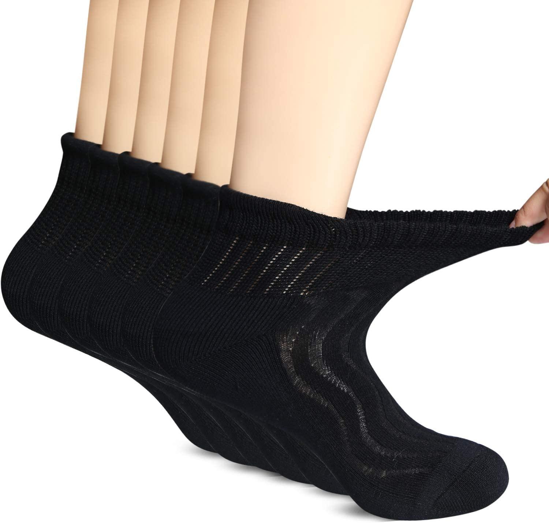 MD 6 Pairs Non-Binding Men's Moisture Wicking Cushion Quarter Bamboo Diabetic Socks 13-15 Black