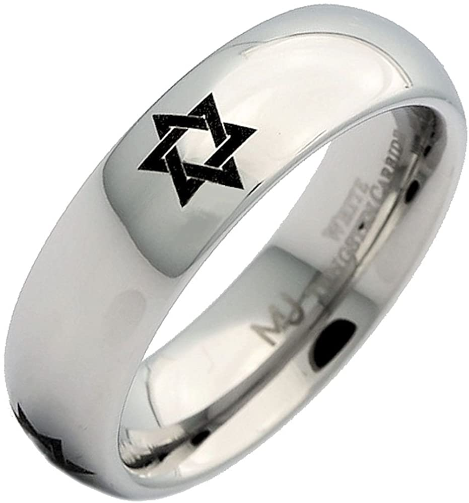MJ Metals Jewelry White Tungsten Carbide Star of David Polished Classic Wedding Band 6mm Ring