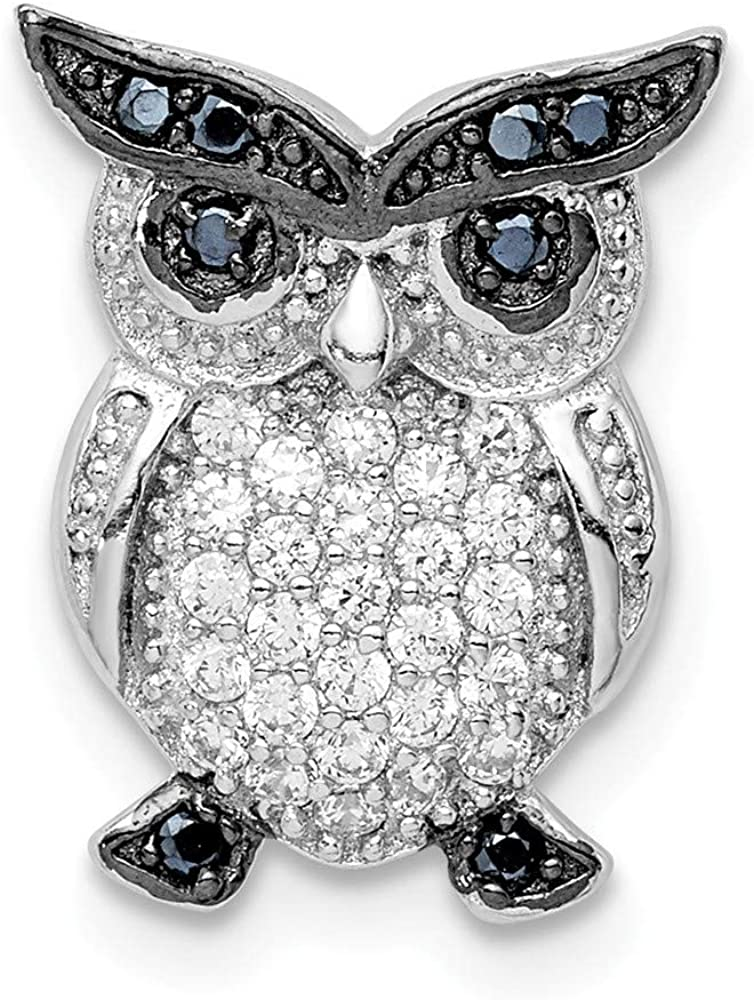 925 Sterling Silver Rhodium plated Black and Clear CZ Cubic Zirconia Simulated Diamond Owl Chain Slide Jewelry Gifts for Women