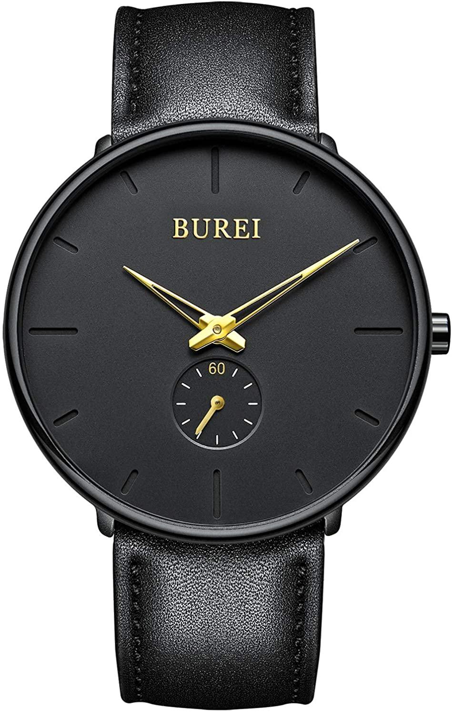 BUREI Men's Quartz Watch Minimalist Analog Ultra Thin Watches Classic Design Black Leather Strap