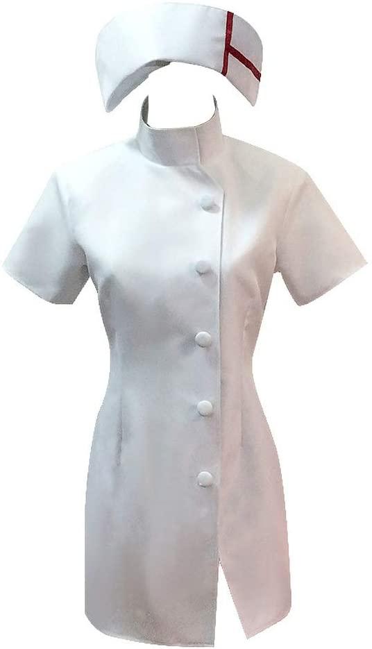 Pajadar Danganronpa Mikan Tsumiki Cosplay for Halloween,Sexy White Nurse Cosplay Costume Womens Dress Uniform with Hat
