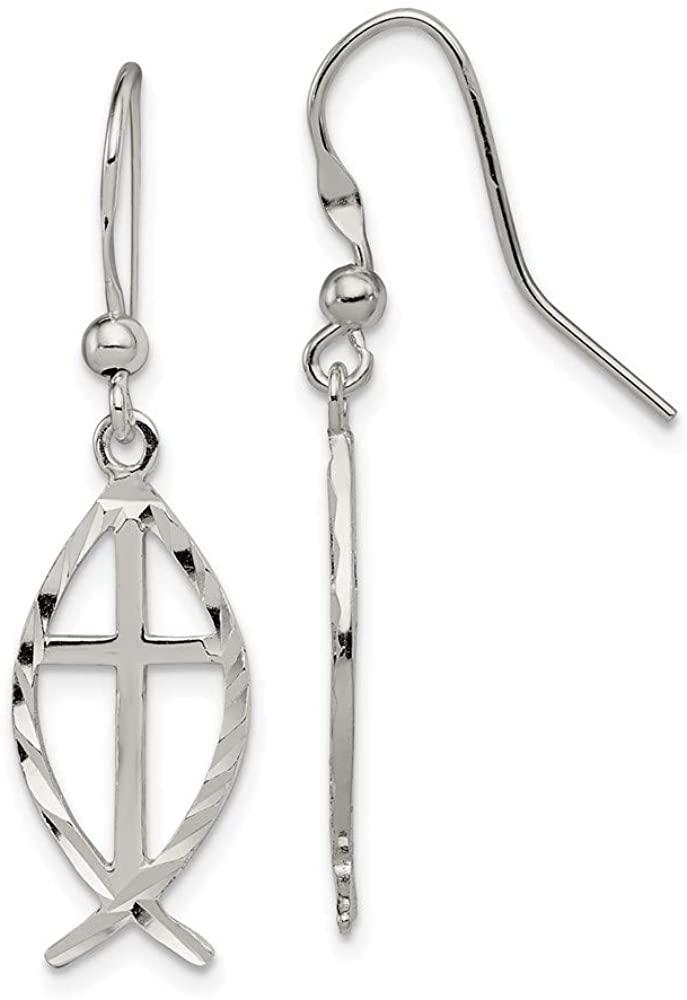 925 Sterling Silver Cross Religious Fish Drop Dangle Chandelier Earrings Fine Jewelry For Women Gifts For Her