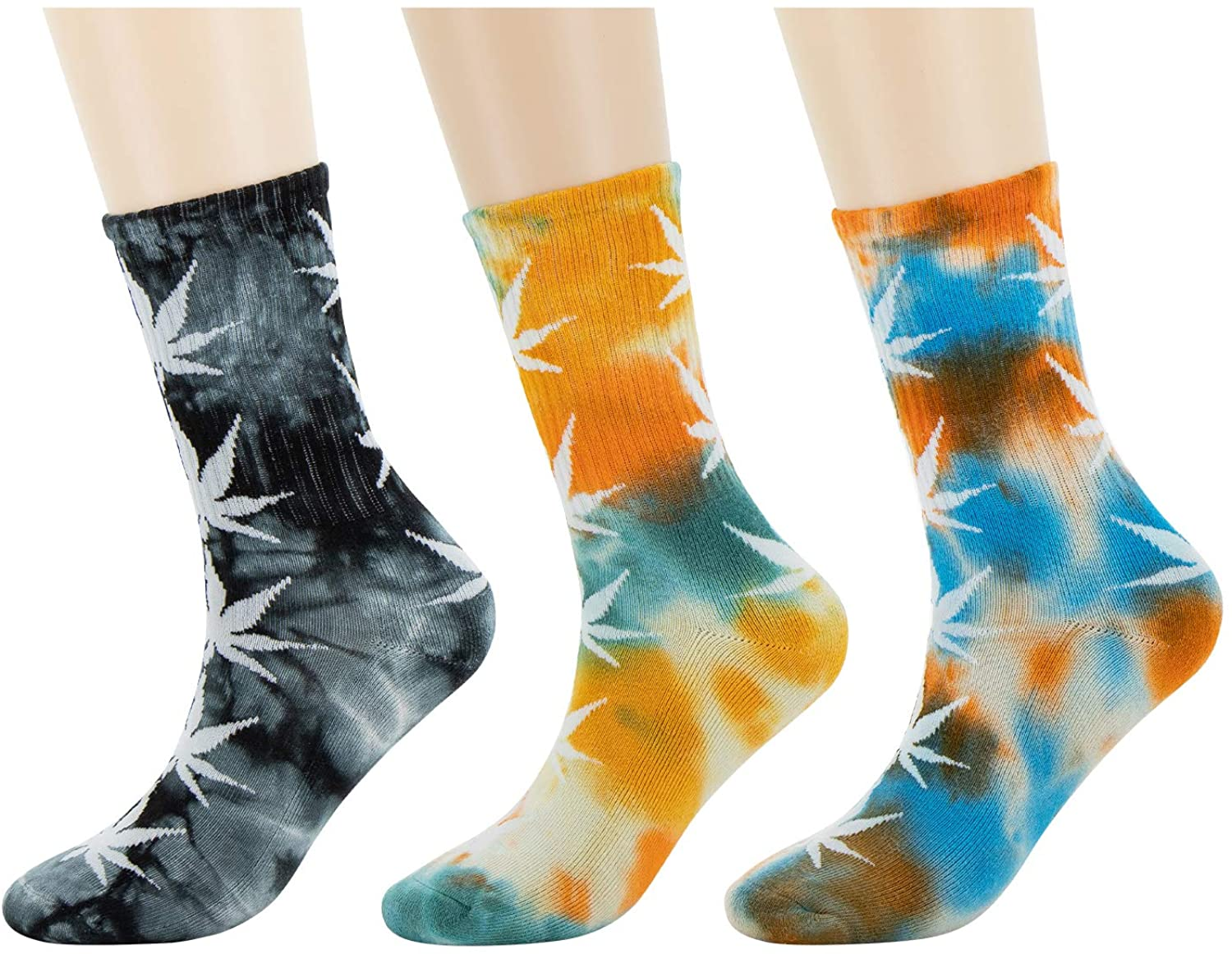 Dowerme Tie Dye Casual Socks for Women Crew Cotton Socks Funny Printed Novelty Cozy Activities Soft Multicolor Womens Fashion