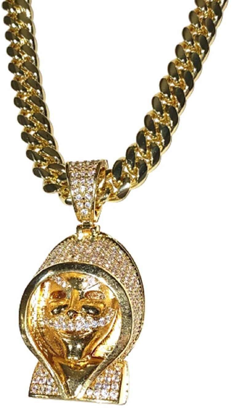 Mens 14k Gold Finish 8mm Miami Cuban Link Chain Stone Lock Stainless Steel Choker Iced Out Money Heist Mask Rappers Necklace Iced Cuban Chain for Men, Cuban Necklace (20