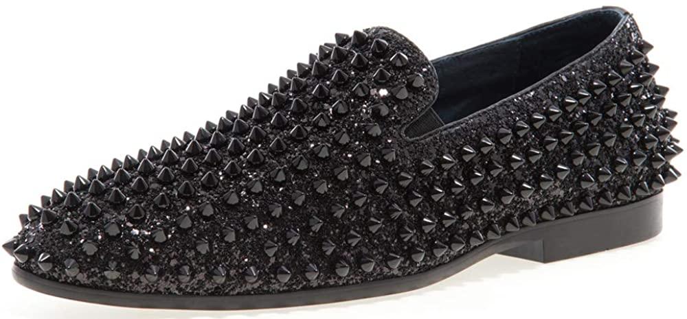JUMP NEWYORK Men's Luxor Round Toe Textile and Leather Metallic Spike Slip-On Smoking Slipper Dress Loafer Black 11 D US Men