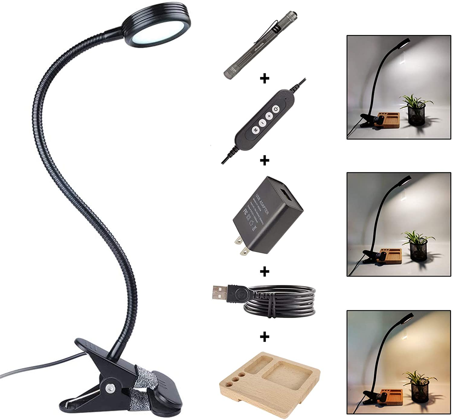 Edison Design 5W LED Clip on Light/Reading Light/Bed Light with 3W Flashlight, USB Desk Lamp with 3 Colors x 10-Level Brightness, Dimmable Reading Lamps for Desk, Mirror, Headboard, Computer (A)