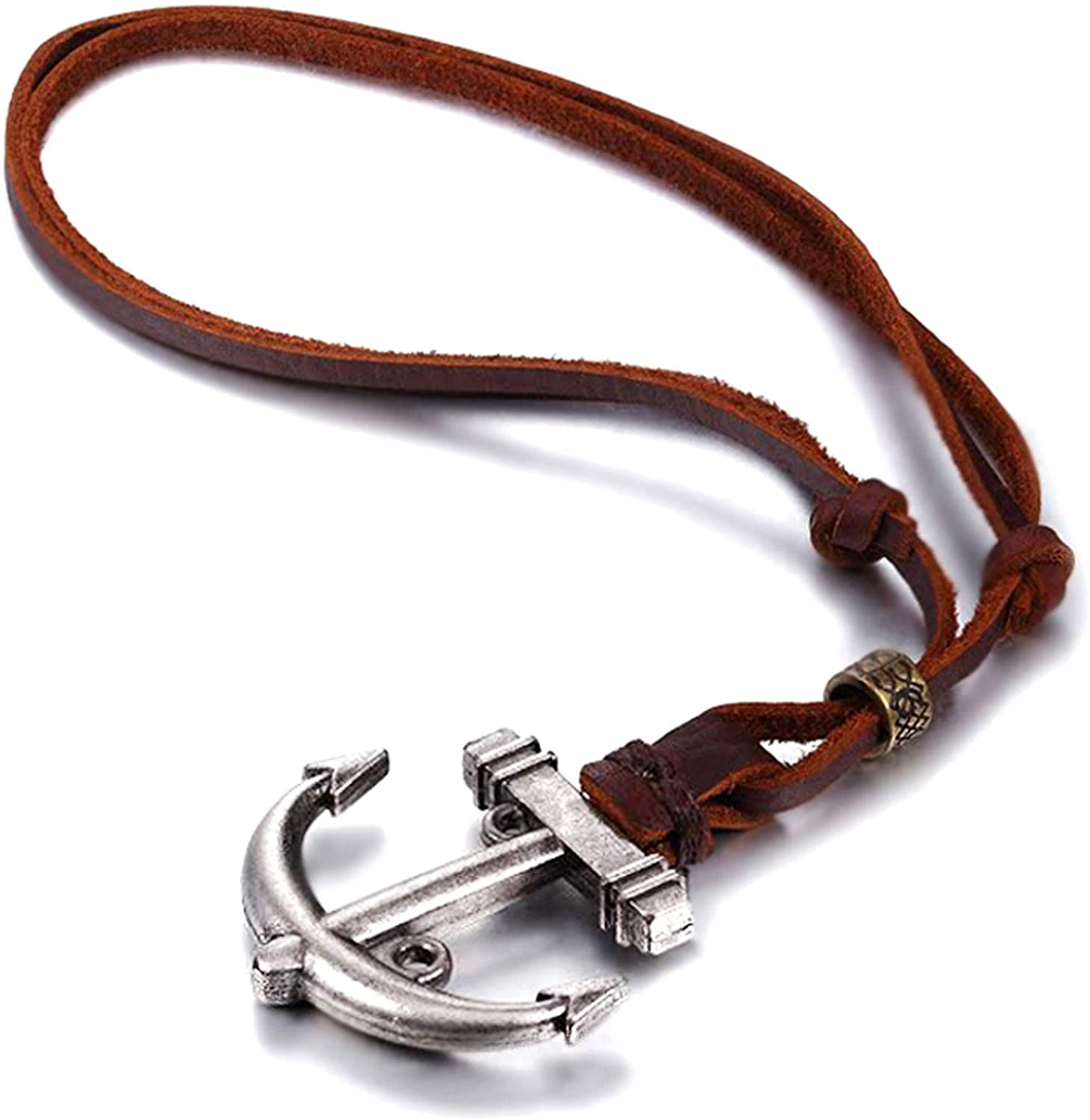 BodyJ4You Pendant Necklace for Men Alloy Vinatge Leather Chain Adjustable