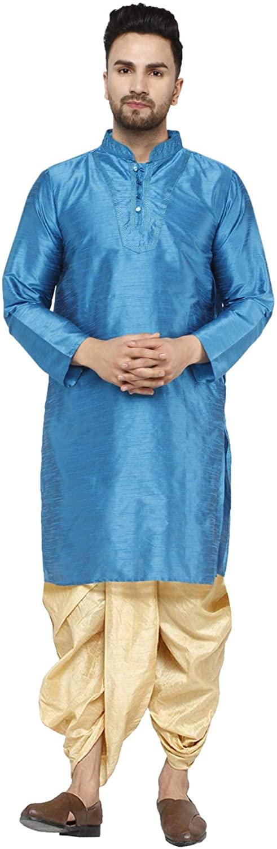 SKAVIJ Men's Art Silk Dhoti Kurta Set Summer Party Wear Ethnic Dress