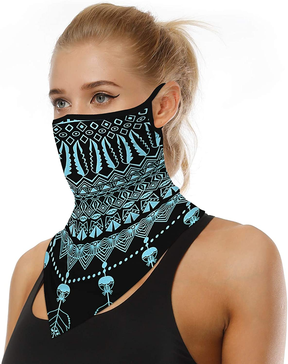 Magic Face Bandana w/Earloops for WomenMen,Breathable Scarf/Wrap for HikingSport