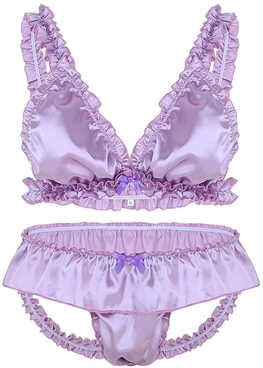 Yartina Men's Sissy Satin Pajamas Nightwear Frilly Ruffled 2 Piece Crossdress Lingerie Set