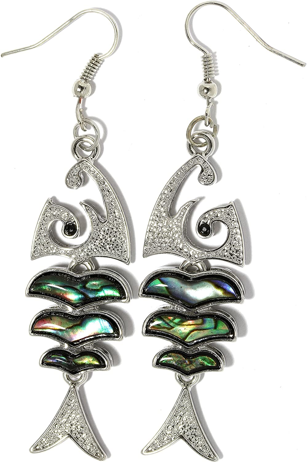AnsonsImages Bone Fish Nautical Abalone Earrings Multi Color Green Silver Tone