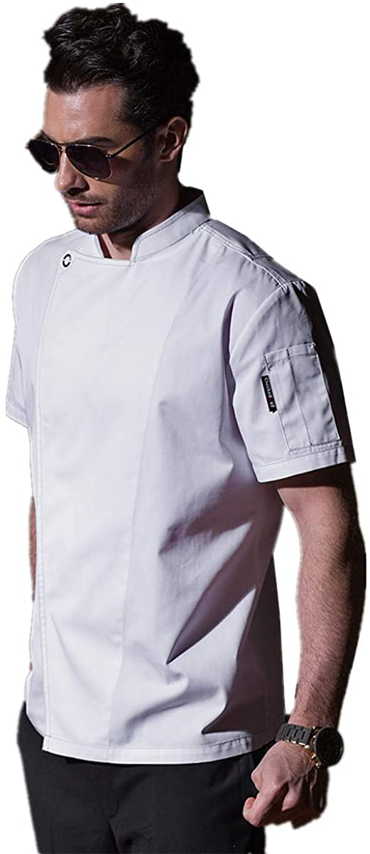 XINFU Mens Short Sleeve Chef Coat Concealed Snap Front Placket Restaurant Kitchen White Chef Jacket