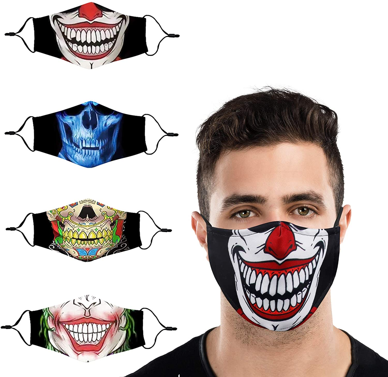 Gyothrig Funny Face Mask Reusable Washable Cotton Fabric for Dust Production Cloth Breathable Cute Coverings for Women Adult Men Fashion Lightweight Decorative Halloween Mascarillas 4 Pack