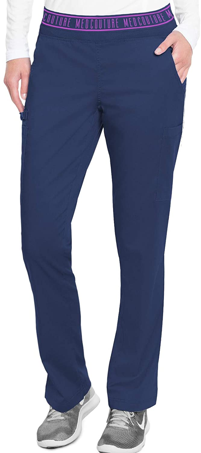Med Couture Touch Women's Yoga 2 Cargo Pocket Pant, Navy, Medium Tall