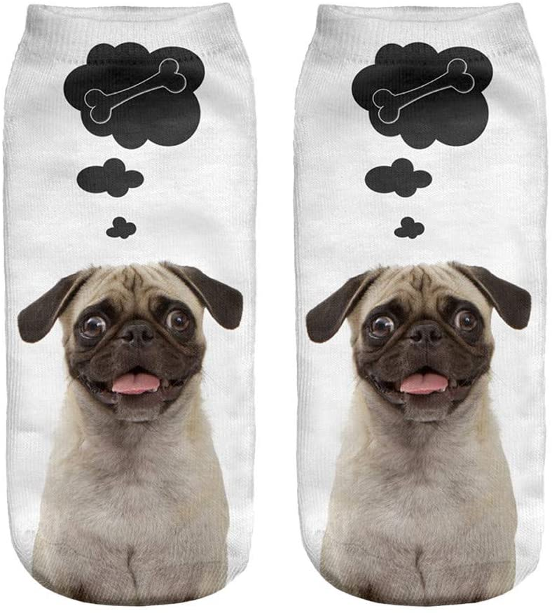 Fineday Popular Funny Unisex Short Socks 3D Dog Printed Anklet Socks Casual Socks, Socks, Clothing Shoes & Accessories