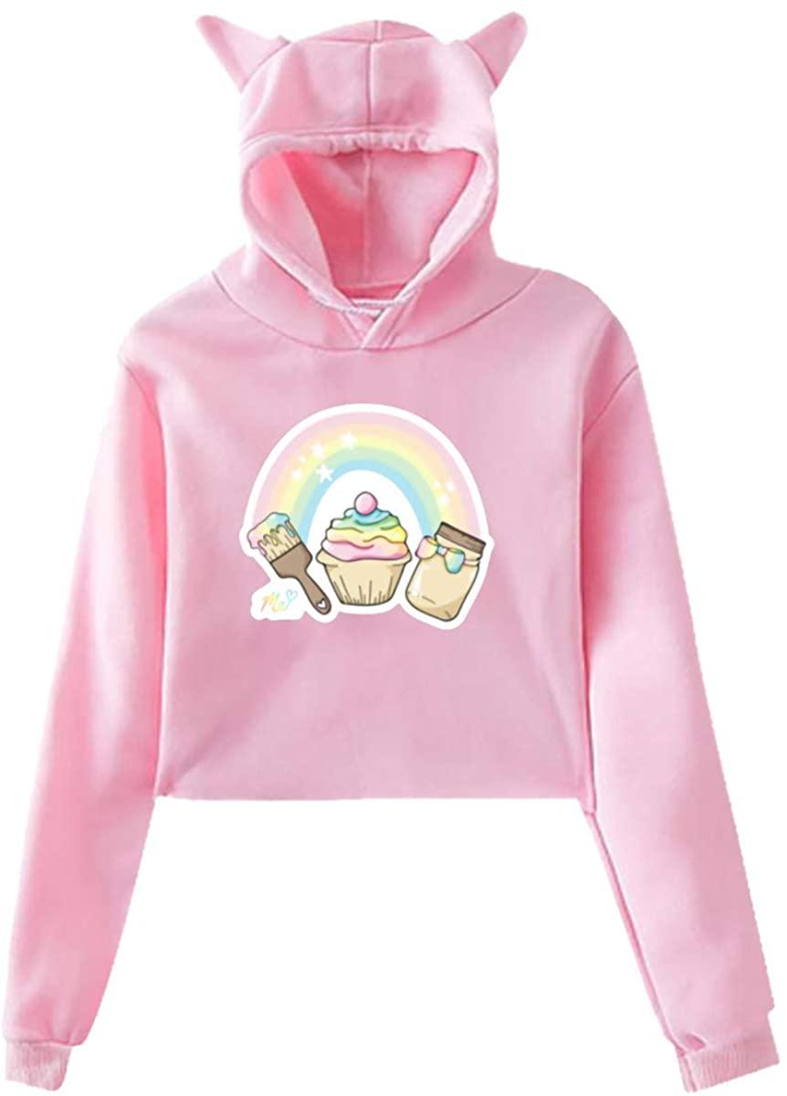 Girls Womans Moriah-Elizabeth-Me Merch 3 Cat Ear Hoodie Sweater Pink
