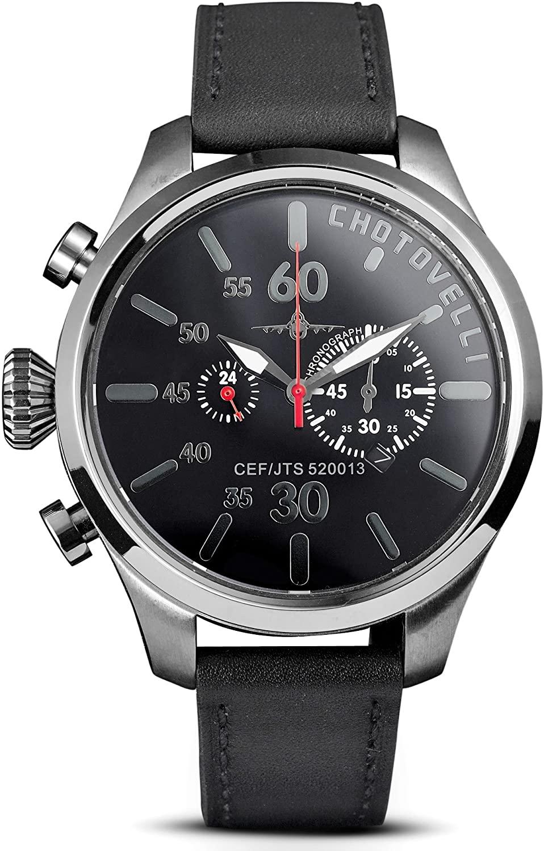 Chotovelli 5250 Chronograph Pilot's Watch Sapphire Italian Leather Strap